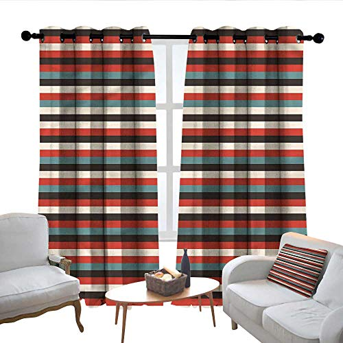 (Lewis Coleridge Blackout Lined Curtains Striped,Vintage 60s Red Black,Thermal Insulated,Grommet Curtain Panel Set of 2 52