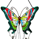 Wind Chime Charm Butterfly Colorful Metal Glass for Indoor Outdoor 38'' x 10'' (Green)