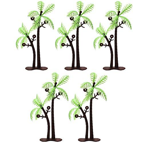 Palm Tree Porcelain (3Inch Height LOT 5 Coconut Palm Palms Twin Coconut Tree Trees Aquarium Terrariums Miniature Garden Fairy Gardens Doll House Cake Topper Resin Decoration)