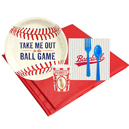 Baseball Time Childrens Birthday Party Supplies - Tableware Party Pack -