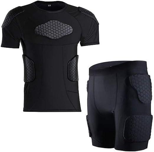 HBRT Camisa de compresión Acolchada Traje de Entrenamiento, Muslos Traseros, glúteos, Codo, Protector de Rodilla, Protector impetuoso para el fútbol de Hockey: Amazon.es: Deportes y aire libre