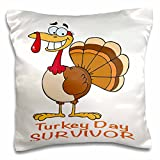 Dooni Designs More Random Cartoon Designs - Funny Turkey Day Survivor Turkey - 16x16 inch Pillow Case (pc_118711_1)