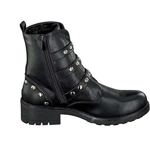 CAFèNOIR Damen Schuhe Stiefel Bikerboots LXZ927-010 in Schwarz mit Nieten