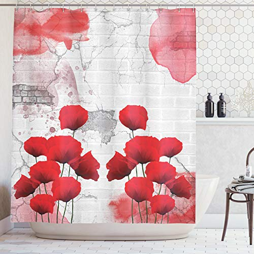Ambesonne Poppy Flower Shower Curtain, Flourishing Rural Field Vibrant Blooms on Weathered Brick Wall Backdrop, Cloth Fabric Bathroom Decor Set with Hooks, 84 Inches Extra Long, Gray Red (Poppies Vibrant Red)