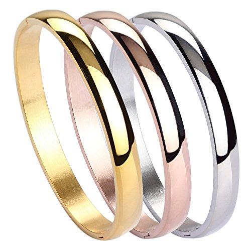 MILAKOO Womens Stainless Steel Bracelet Plain Polished Finish Cuff Bangle 7 Inches