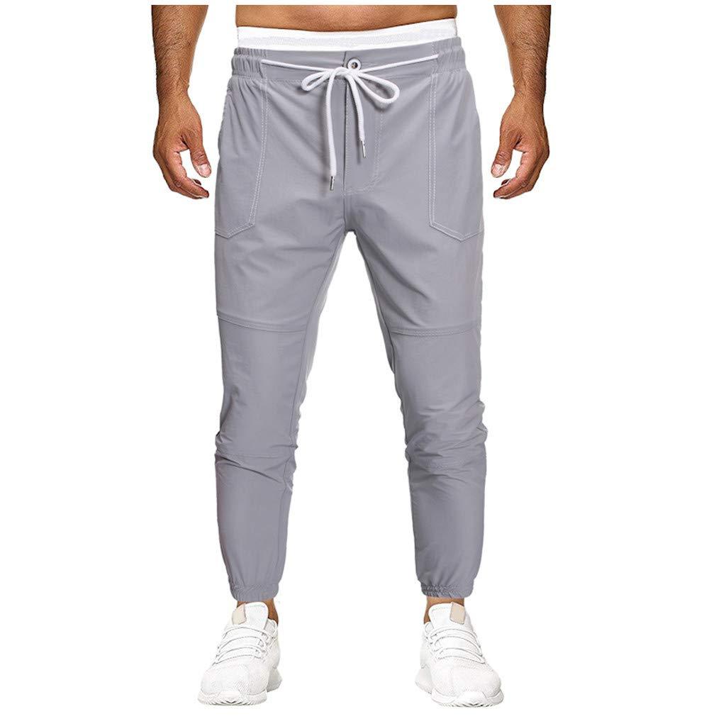 Pantaloni Uomo Tuta Palestra Uomo Styledresser-Pants 2019 Pantaloni da Lavoro Uomini Tasca Puro Colore Tuta da Lavoro Casuale Tasca Sport Casuale Pantaloni
