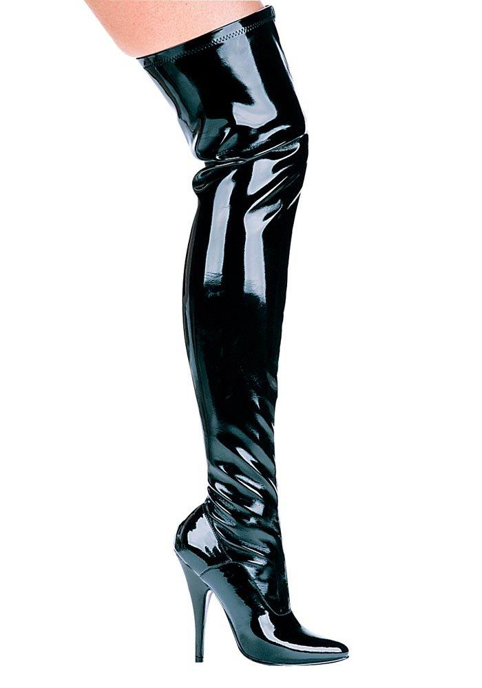 Ellie Shoes Women's 5 inch Heel Thigh High Stretch Boot B000AY0PZ6 6 B(M) US|Black Stretch Patent W/Zip