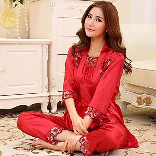 CHUNHUA Sra. Pijama de seda de manga larga de encaje Parure chándal (color opcional) , watermelon red , xl Red