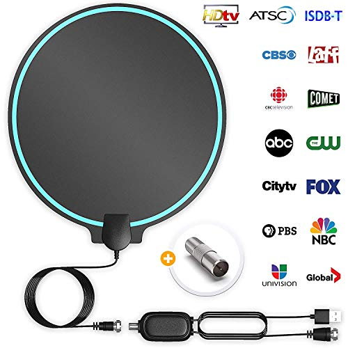 All-New 2019 Indoor HDTV Digital Antenna 4K HD Freeview Life Local Channels All Type Television Switch Amplifier Signal Booster to 150 Mile, Professional Round Shape (Best Indoor Digital Antenna 2019)