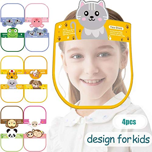 【US Stock】Children Kids Washable Reusable Face Bandanas with Elastic Band Lightweight Transparent Cartoon Printing Breathable Hat for Child Girls Boys Outdoor Safety