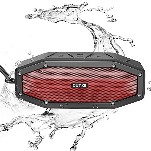 [27H Playtime] OUTXE Loud Bluetooth Speaker Outdoor 10W, IPX6 Weatherproof / Enhanced Bass / Built-in Microphone and Carabiner