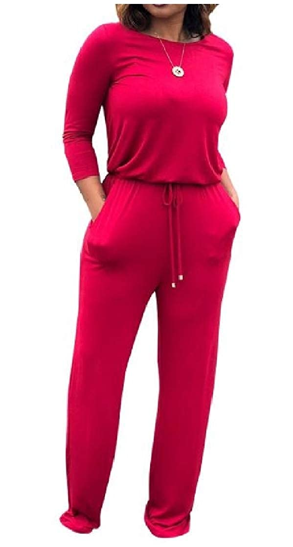 YUNY Womens Fall /& Winter Cozy Straps Long Sleeve Pure Color Jumpsuits Rompers Red S
