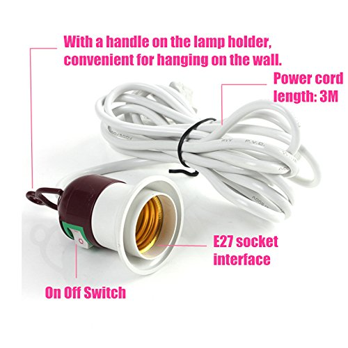 10A Lamp Base E27 Lamp Holder Socket Light On Off Switch With 3 Meter Power Cable Cord AC 250V For LED Light Bulb Lamp