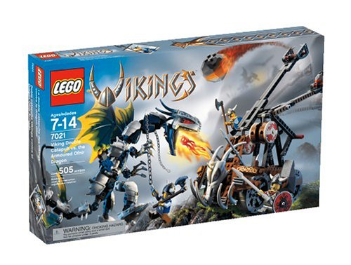 4286766 7021 LEGO VIKINGS Double Catapult vs The Armored Ofnir Dragon