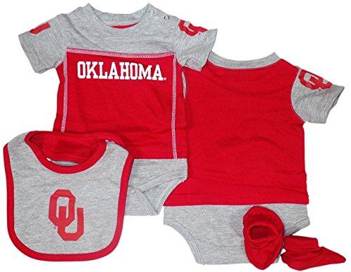 (Genuine Stuff Oklahoma Sooners Baby/Infant Lil Jersey Creeper, Bib, Bootie Set 0/3 Months)