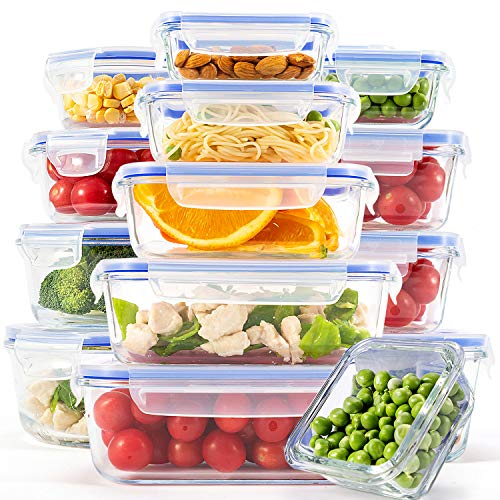 [15-Pack] Glass Containers for Food Storage with Lids, Meal Prep Containers for Kitchen, Home Use, Lunch Container with Easy Snap, Airtight and Leakproof Lid