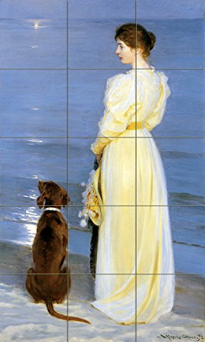 Tile Mural Summer evening at Skagen sea moon lady dog by Peder Severin Kroyer Kitchen Bathroom Shower Wall Backsplash Splashback 3x5 4.25'' Ceramic, Glossy by FlekmanArt