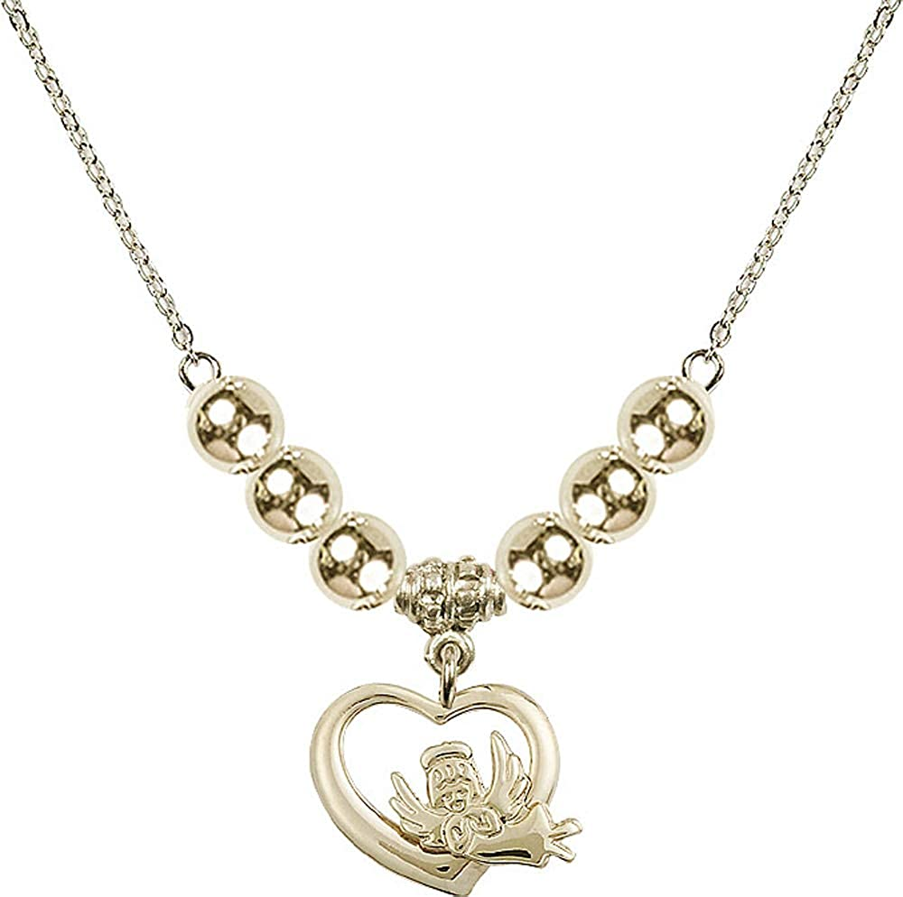 18-Inch Hamilton Gold Plated Necklace with 4mm Jet Birthstone Beads and Gold Filled Holy Spirit Charm.