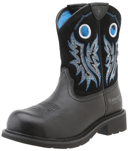 Ariat Women's Fatbaby Cowgirl Steel Toe Work Boot, Black, 8 M US (Ariat Water Black)