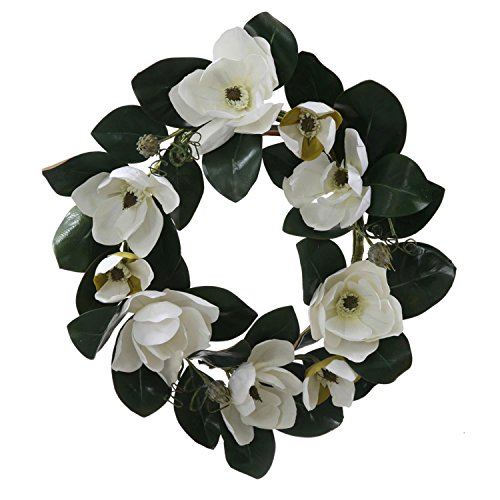 "Custom & Unique (26"" Inches) 1 Single Large Size Decorative Holiday Wreath for Door, Made of Resin w/ Garden Floral Leaves, Magnolia Flowers, & Vines Festive Style (Green, White, Brown, & Yellow)"