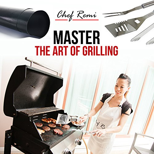 Chef Remi Grill Mat – Lifetime Guarantee – Set Of 3 Heavy Duty, Non-Stick Grilling Mats – 16 x 13 Inch – Use on Gas, Charcoal, Electric BBQ Grills and Smokers – Made With USA Raw Materials