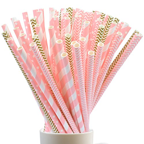 100PCS Drinking Straws, Jmkcoz Disposable Biodegradable Paper Straw for Birthday, Wedding, Baby Shower, Celebration and Hallowen Christmas Party