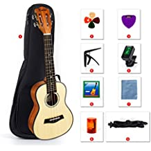 Ukulele Classical 23 Inch Ukelele Concert Hawaii Guitar With Bag Picks Tuner Strap String Cleaning Cloth Capo Finger Shot for Starter Beginner Kit From Kmise