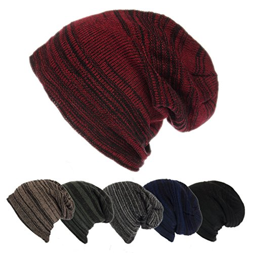 DG Hill Mens Beanie Hat Long Slouchy Striped Ribbed Knit Hat Lightweight Thick