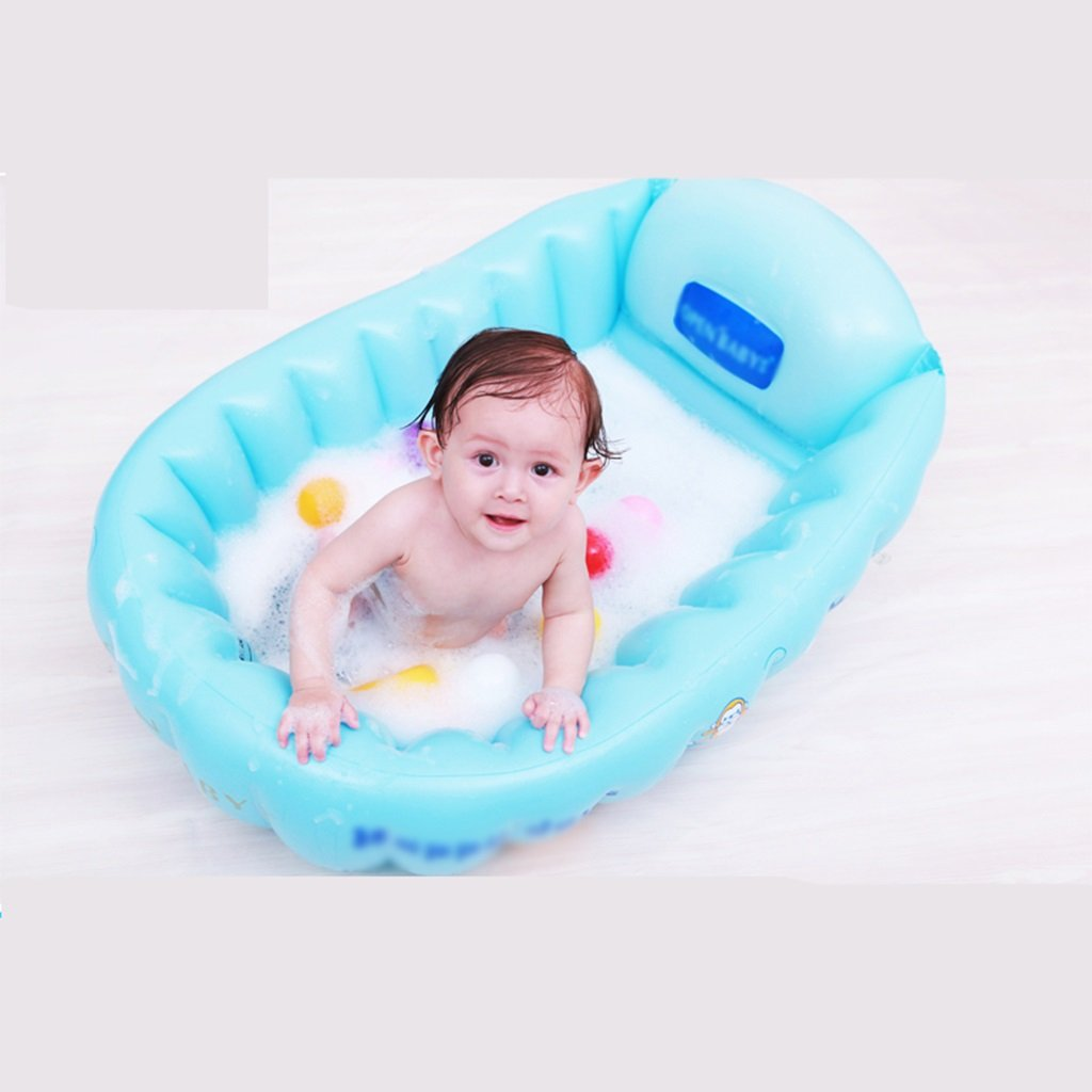 Bathtubs Freestanding Baby Inflatable tub can sit in General Supplies Baby Bath tub Inflatable tub wash Basin Thicker Foldable (Color : A)