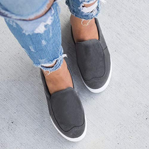 2019 New Women's Shoe Flat Low Heel Soft Solid Flock Single Shoes Shallow Casual Outdoors Sneakers Single Shoes (Dark Gray, 5.5 M US) by Aurorax Shoes (Image #4)