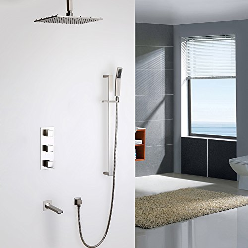 Faucet Tub Ceiling Mount (KunMai Modern Brushed Nickel Ceiling Mount LED Rain Shower System with Hand Shower & Tub Spout & Slide Bar (Thermostatic Shower Valve, 12 Inches - Without LED))