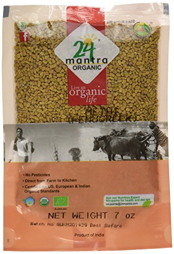 Price comparison product image 24 mantra Organic Fenugreek Seeds (7 oz) [USDA Certified] Whole Methi Seeds