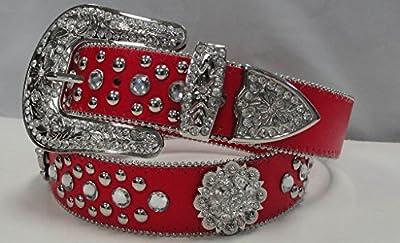 Deal Fashionista BERRY Red Western Rhinestone Bling Studded Buckle Belt