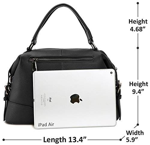 Iswee Fashion Women Handbags Leather Shoulder Black Satchel with Strap Bag Tote Purses r7Oqwrtpx