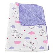Deluxe Plush Blanket for Baby Boys and Baby Girls (Purple Unicorns)