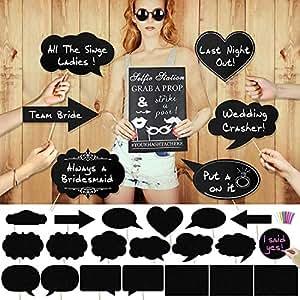 Konsait 20pcs de gran tamaño DIY tiza tarjetas Photo Booth Props Cabina de Fotos Accesorios Photocall para la boda despedidas de soltera fiesta
