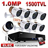ELEC 8 PCS 1500TVL 1.0 MP CCTV Bullet Cameras, Weatherproof Metal Housing Outdoor Security Cameras 960H 8CH HDMI DVR Video Security System, Pre-Installed 1TB HDD (8CH 8CAM 1TB) Review