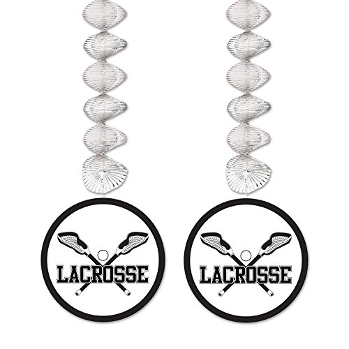 Beistle Lacrosse Danglers, 30-Inch, Silver/Black/White -