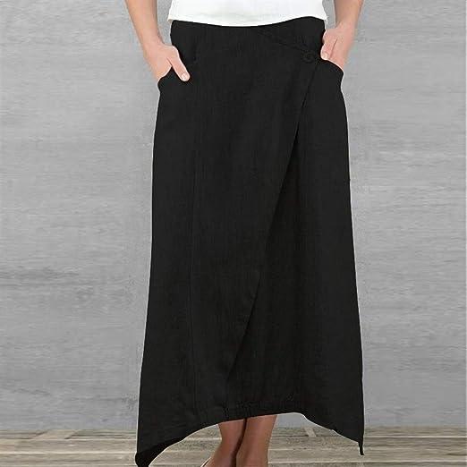 FENGLINZEKANG El Faldas Maxi de Las Mujeres, Falda Larga Plisada ...