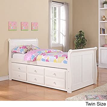 twin sleigh captains bed with twin trundle and storage drawers in white