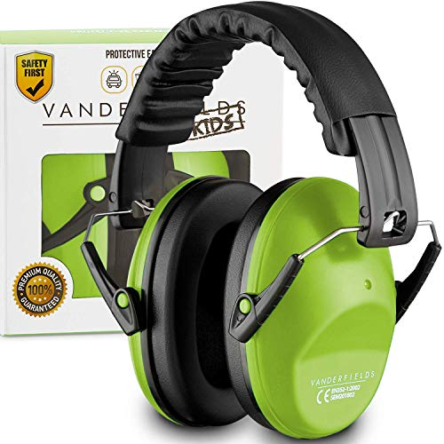 Earmuffs for Kids Toddlers Children - Hearing Protection Ear Defenders for Small Adults Women - Foldable Design Ear Defenders Adjustable Padded Headband Noise Reduction (Lime)