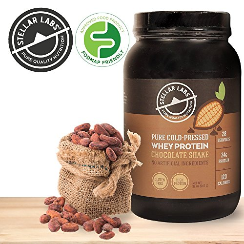 UPC 703439357300, Stellar Labs Pure Cold-Pressed Chocolate Whey Protein Powder, Gluten-Free, High Protein, All Natural with Stevia, Low FODMAP, 28 Servings, 32oz