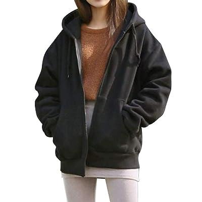 ALOVEMO Women's Long Sleeve Hooded Fleece Sweatshirt Warm Zip Up Hoodie Pullover: Clothing