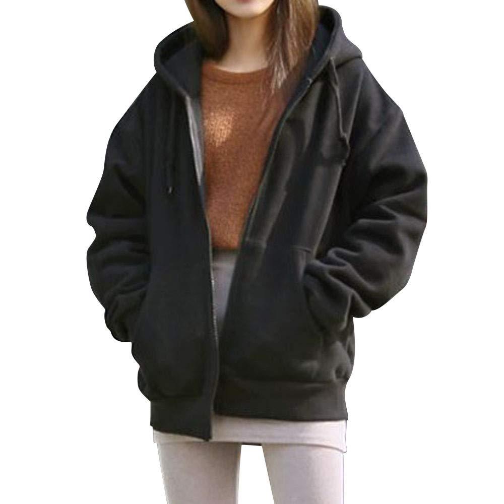 INNEROSE ❤ Donna Cappotto Giacca Capispalla Felpe Moda Donna con Cappuccio in Pile Manica Lunga Loose Casual Zip Tasche Solid Jacket Tasche Cappotto