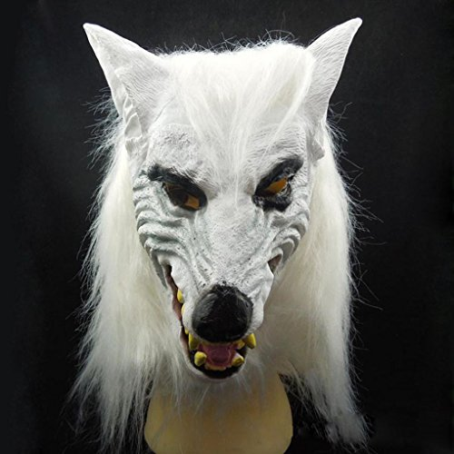 Scarry Mask (Xuanhemen White Wolf Mask Latex Horror Devil Scarry Mask Make You Friend Fell Scary at Halloween)