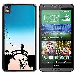 Qstar Arte & diseño plástico duro Fundas Cover Cubre Hard Case Cover para HTC DESIRE 816 ( Bridge Fairytale China Flamingos Nature Bird)