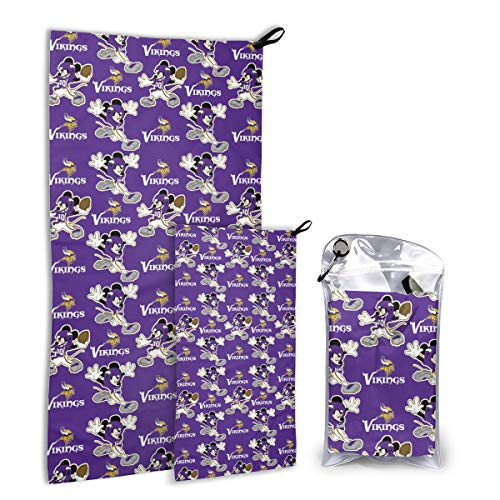 Dalean Minnesota Vikings Super Absorbent Quick Quick Drying Towel Set Super Compact Weight is Most Suitable for Gym Travel Camp Backpacker Yoga Fitness