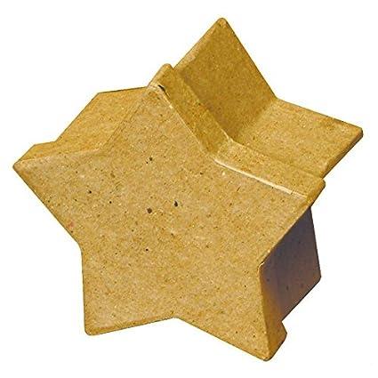 Estrella caja - regalo-cartón estrella para Manualidades pintar decorar, diámetro 8 cm H5cm