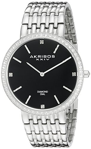 Akribos XXIV Men's AK866SSB Diamond Accented Black Dial Silver-Tone Stainless Steel Bracelet Watch