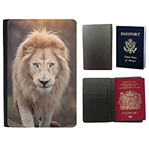 Passeport Voyage Couverture Protector // V00002185 Retrato del león // Universal passport leather cover